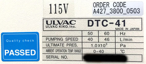 ULVAC Label on DTC-41 Dual Stage Diaphragm Recovery Pump