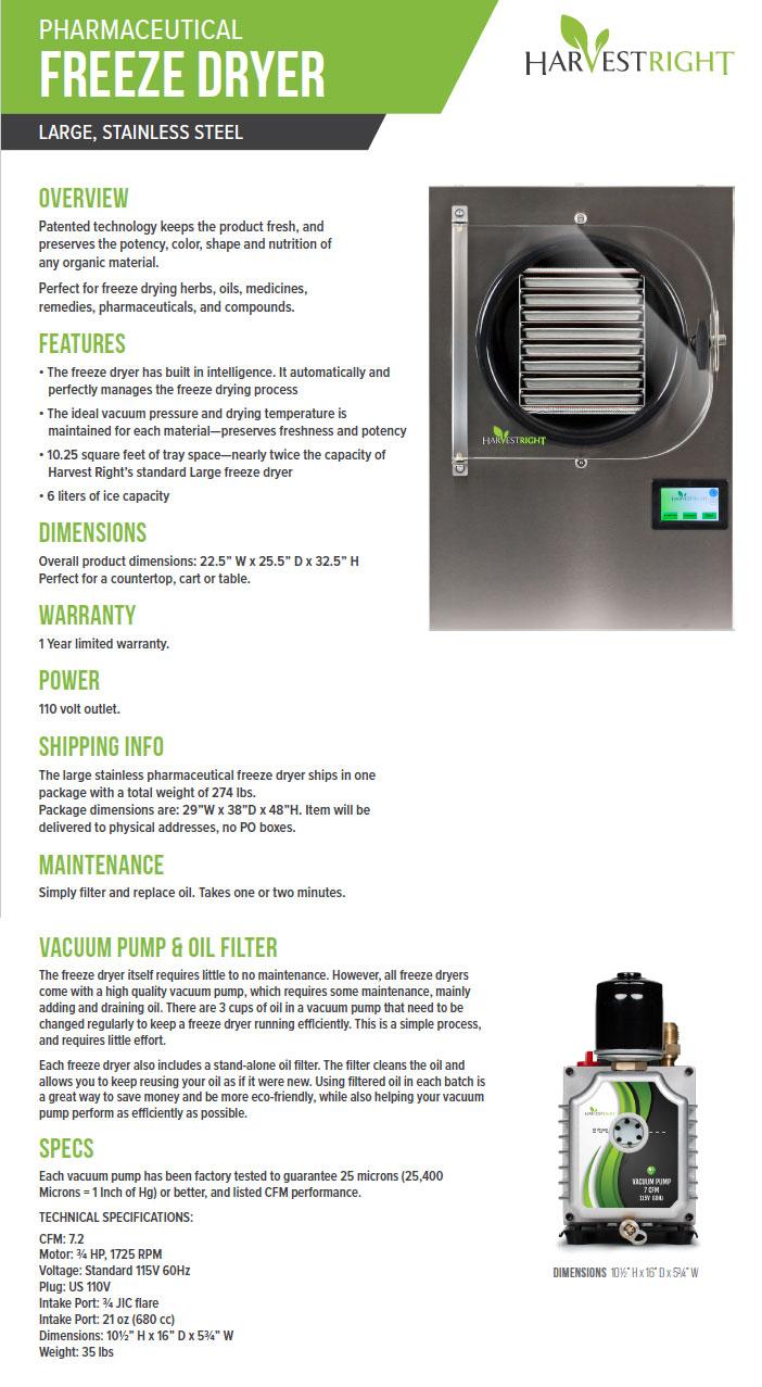Freeze Dryer - Harvest Right w/ 7 2 cfm Pump LARGE