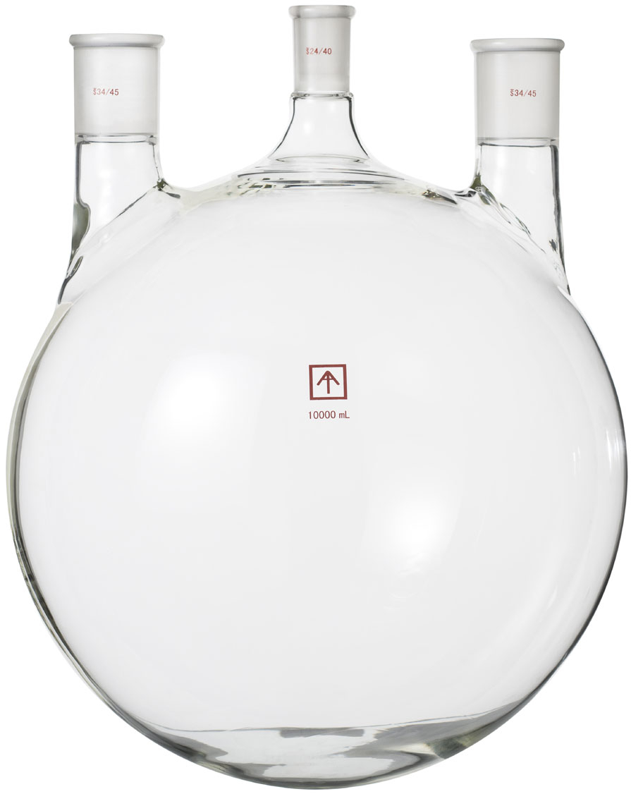 29//42 Center Joint ACE Glass 6948-227 Three Neck Boiling Flask Heavy Wall 1L Capacity Angled 24//40 Side Joint ACE Glass Incorporated Round Bottom
