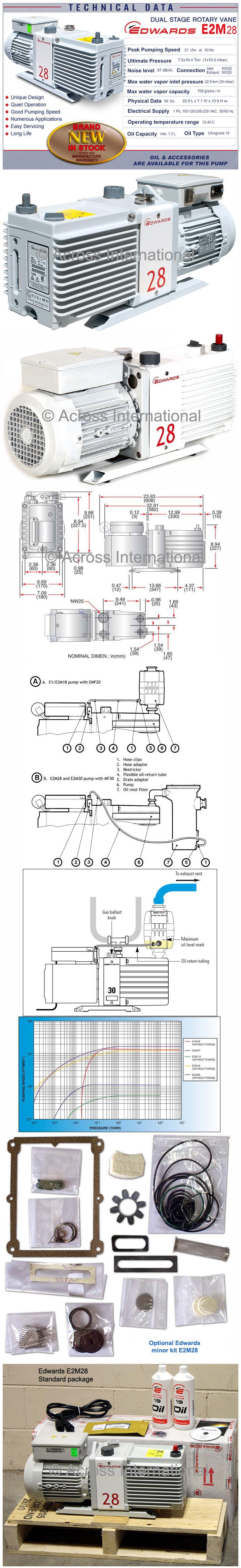 Edwards E2m28 21 Cfm 2 Stage High Capacity Vacuum Pump W